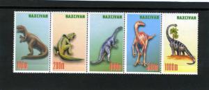 Nakhchivan Republic 1997 DINOSAURS Strip (5) Perforated Mint (NH)