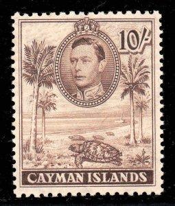 Cayman Islands 1938 KGVI 10/- chocolate (CW 14) p11½x13 SG 126 mint