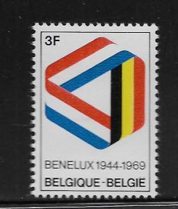 BELGIUM, 723, MNH, RIBBON IN BENELUX COLORS