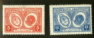 ARGENTINA 369-70 MH SCV $4.00 BIN $2.00 COATS OF ARMS