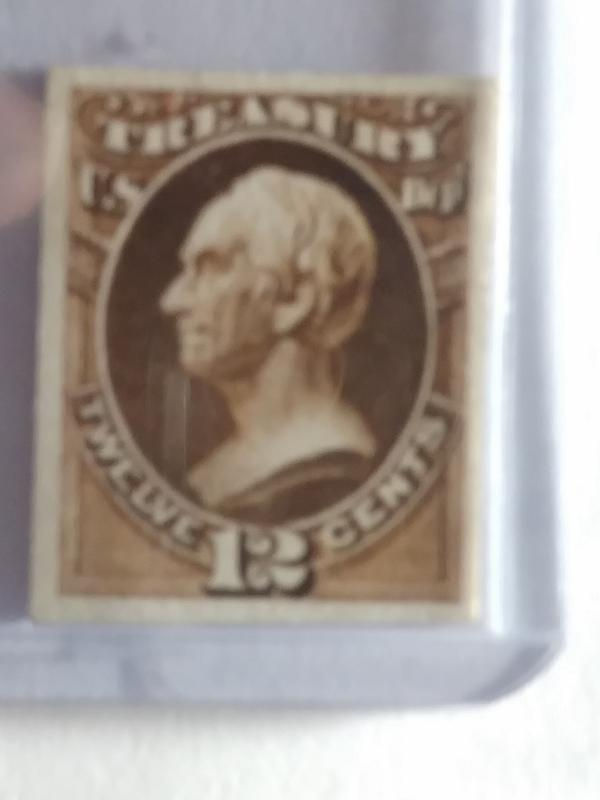 SCOTT # O78P CARD PROOF 12 CENT TREASURY NOTE GREAT COLOR AND GREAT CENTERING !!