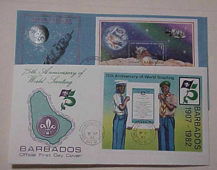 BARBADOS  FDC  2 DIFF. SHEETLETS BOY SCOUT 1982 & SPACE 1979 CACHET UNADDRESSED