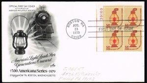 US STAMP #1612  1979 $5 Americana Series: Conductors Lantern PL#  BLK OF 4  FDC