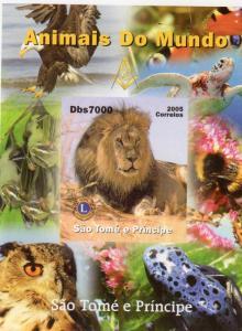 Sao Tome and Principe 2005 Freemasonry/Lions/Fauna/Owls/Lion SS #6  MNH