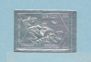 Sharjah, Michel cat. 1061 B. Silver Foil for Soyuz II, IMPERF issue.