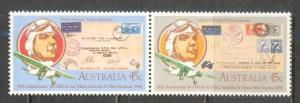 AUSTRALIA Sc# 891a MNH FVF Pair Airplane & Aviator