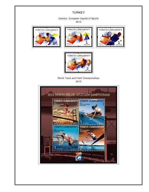 COLOR PRINTED TURKEY 2011-2015 STAMP ALBUM PAGES (55 illustrated pages)