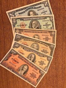 C) CUBA-CARIBBEAN BANK NOTE 6 PC SET 1+5+10+20+50+100 PESOS 1958,59,60