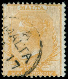 MOMEN: MALTA SG #1 1860 BLUE PAPER NO WMK USED LOT #60232