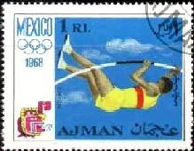 Pole Vault, 1968 Olympic Games, Mexico City, Ajman stamp