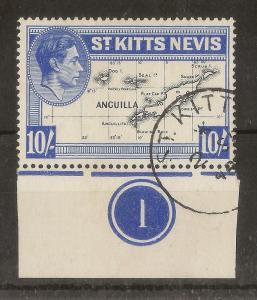 St Kitts 1948 10/- Plate 1 SG77e Fine Used