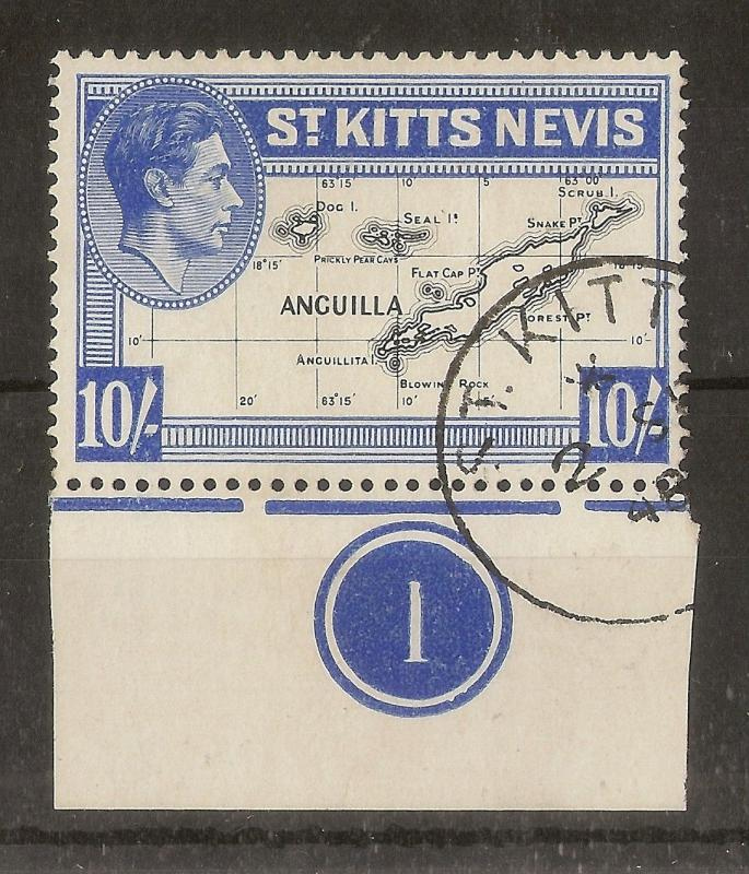 St Kitts 1948 10/- Plate 1 SG77e Fine Used