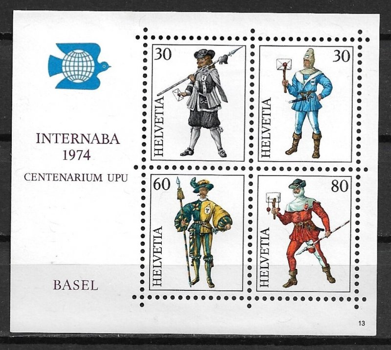 1974 Switzerland 585 Medieval Postal Couriers MNH S/S