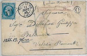 FRANCE -  POSTAL HISTORY:  YVT # 22 on COVER sur piece - NICE! 1865
