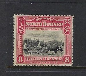 NORTH BORNEO SCOTT #143 1909-22 PICTORIALS PERF 14- 8CENT- MINT HINGED