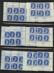 Canada - 1954 5c QE Wilding Pl. 10, 11 & 12 Blocks #341