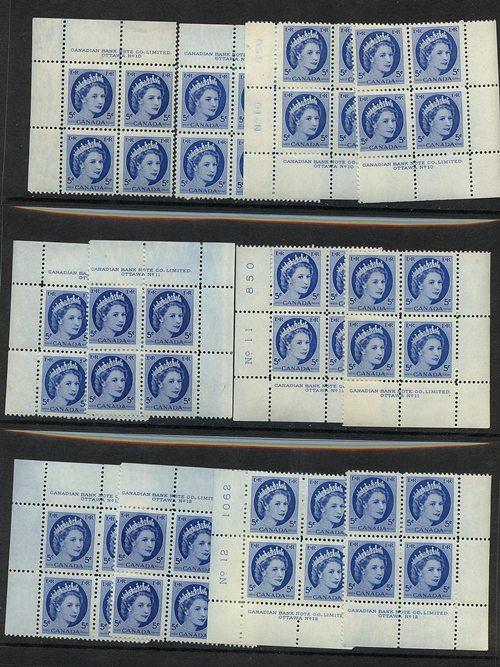 Canada - 1954 5c QE Wilding Pl. 10, 11 & 12 Blocks #341