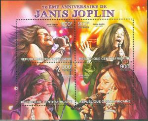 CENTRAL AFRICA  2013 70th BIRTH  ANNIVERSARY JANIS JOPLIN  SHEET MINT NH