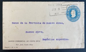 1912 San Jose Costa Rica Commercial Bank Stationery Cover To Buenos Aires Argent