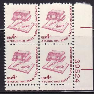 United States 1975 Americana Series 4c Reading/ Democracy Plate Nr. Block VF/NH