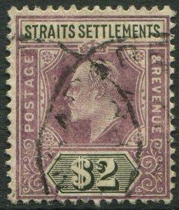 STRAITS SETTLEMENTS-1905 $2 Dull Purple & Black Sg 137 GOOD USED V50191