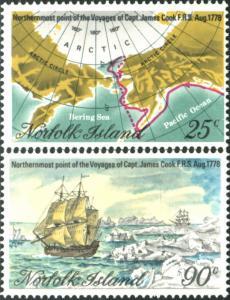 Norfolk Island 1978 SG213-214 Captain Cook voyages set MNH