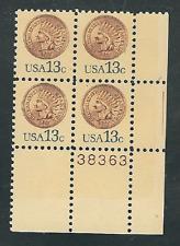 SCOTT #1734 13 CENT INDIAN HEAD CENT PLATE BLOCK GEM  1978