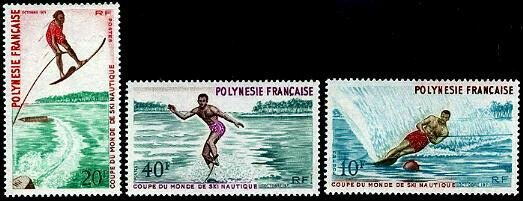 HERRICKSTAMP FRENCH POLYNESIA Sc.# 267-69 Water Skiing Mint NH Stamps