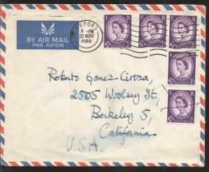 J) 1960 ENGLAND, KING ELIZABETH, MULTIPLE STAMPS, AIRMAIL, CIRCULATED COVER, FRO
