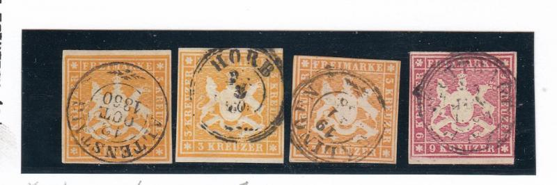 GERMAN STATES/WURTTEMBERG MICHEL # 12a-12c+14 IMPERFS SON SUPERB CANCELS