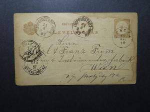Hungary 1887 Postal Card to Austria / Light Staining & Creasing - Z12256