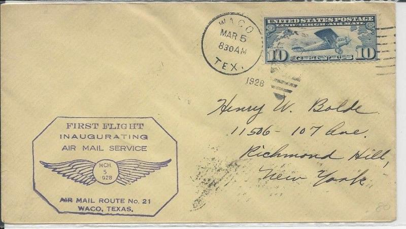 FIRST FLIGHT INAUGURATING AIR MAIL SERVICE WACO TEXAS MARCH 5 1928