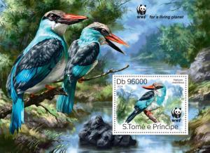 ST. TOME PRINCIPE 2014 SHEET WWF WILDLIFE KINGFISHERS BIRDS st14320b