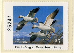 US OR2 OREGON STATE DUCK STAMP 1985 MNH SCV $35.00 BIN $20.00