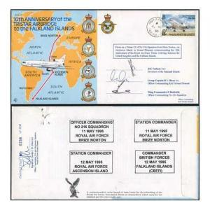 JS(CC)3bb 10th Ann Tristar Airbridge to Falkland Islands Signed by 3 (A)