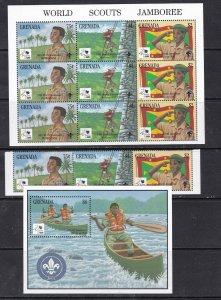 UGANDA ^^^^^1995  MNH  x2 Souv/sheets  + set  ( SCOUT JAMBOREE)  $$@ cam3829gren
