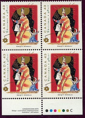Canada USC #1499as 1999 Polish Christmas Personages Imprint Block of Four ex Bk.