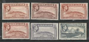 GIBRALTAR 1938 KGVI PICTORIAL RANGE TO 2D INC SHADES AND PERFS
