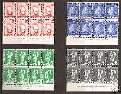 Iceland Sc 213-216 MNH. 1939 New York Worlds Fair Matched Imprint Blocks of 8 XF