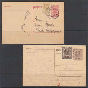 Austria Mi P239/279, P246A/P313a used 1919 10h & 1k Uprated Postal Cards