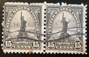 696 1922 Americans Series, 11x10.5 perf., Circ. pair, Vic's Stamp Stash