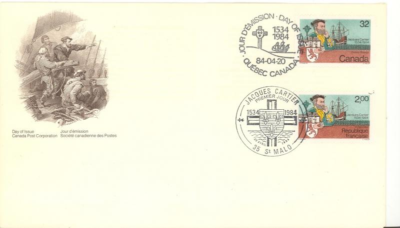 Canada Jaques Cartier FDC with Canada and France issues