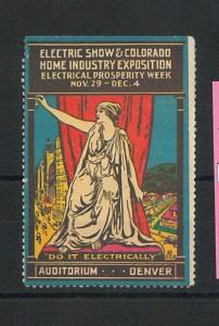 552 -  VINTAGE  POSTER STAMP Label - USA: ELECTRIC EXPOSITION  Denver