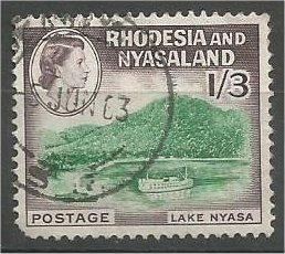 RHODESIA & NYASALAND, 1959, used 1sh3p, Ship, Scott 166