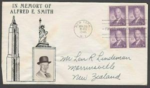USA 1945 CROSBY photo FDC to New Zealand - 3c Alfred E Smith...............55566