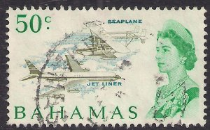Bahamas 1967 - 71 QE2 50ct Seaplane used SG 306 ( G149 )