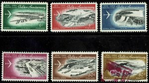 CANAL ZONE #C36-41 1964 6c TO 80c 50TH ANNIVERSARY AIR MAIL ISSUES-MINT-OG/VLH