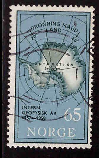 Norway Scott 357 Used stamp with Antarctic map