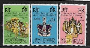 New Hebrides MNH 214-6 QE II Silver Jubilee