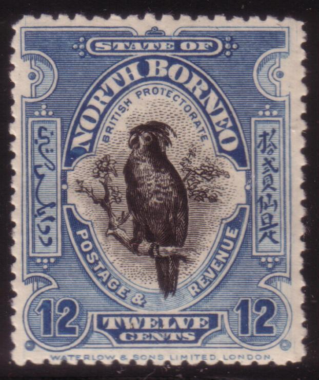 YS-C152 NORTH BORNEO - Birds, Sg 173 12 Cents 1909/23, Palm Cocktaoo P. 14x14 MH